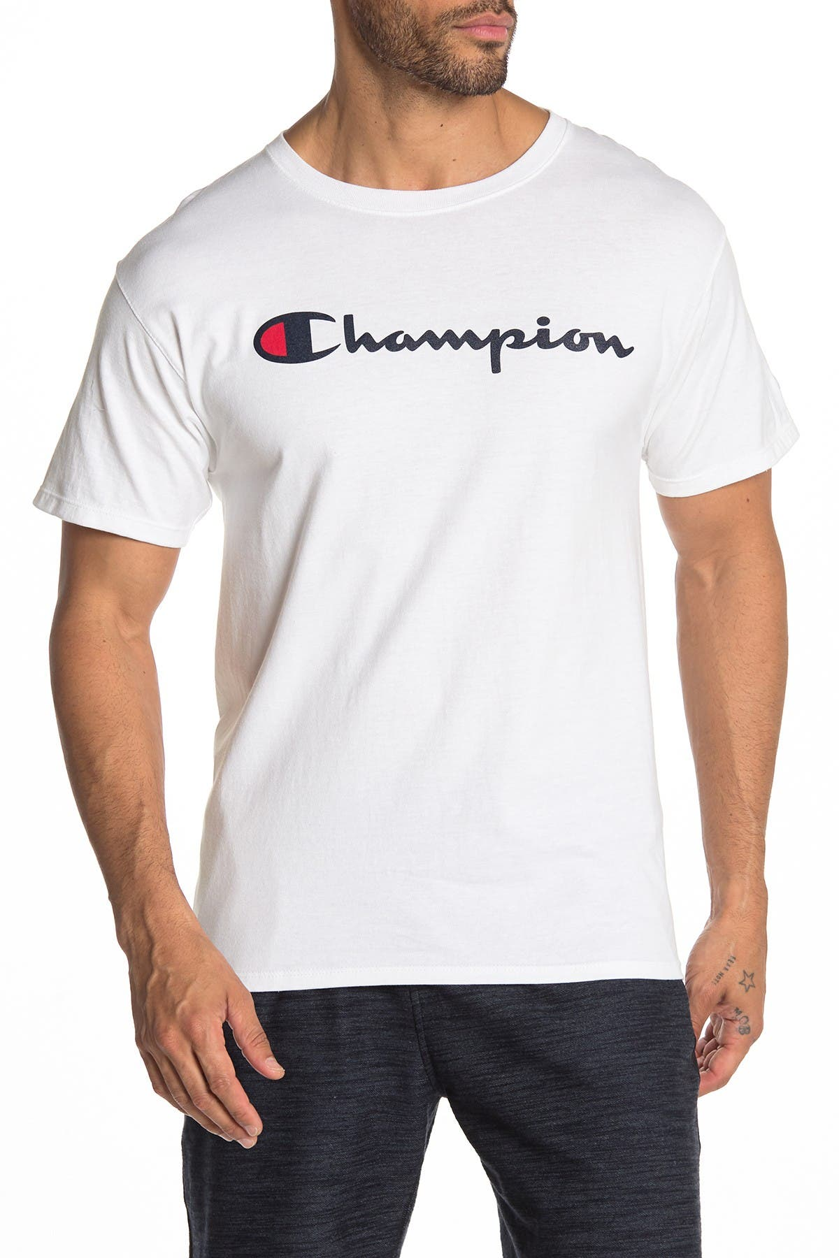 Image of Champion Logo Print Crew Neck T-Shirt