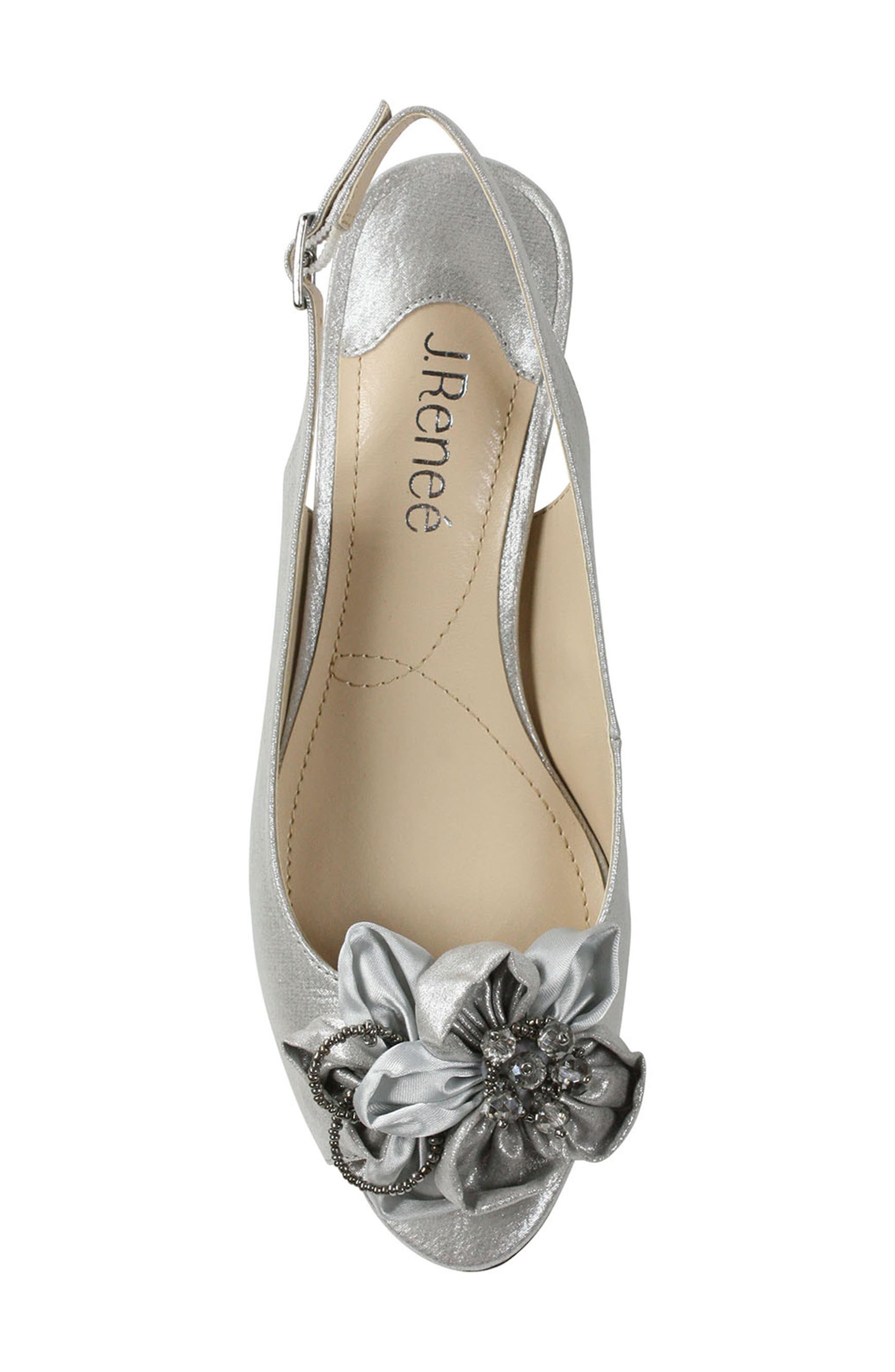 ,                             Leonelle Slingback Crystal Embellished Sandal,                             Alternate thumbnail 4, color,                             SILVER SATIN