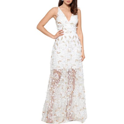 Xscape 3D Floral V-Neck Gown, White