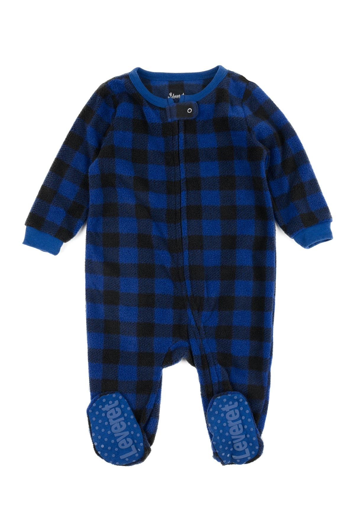 Image of Leveret Navy Blue Plaid Footed Fleece Sleeper