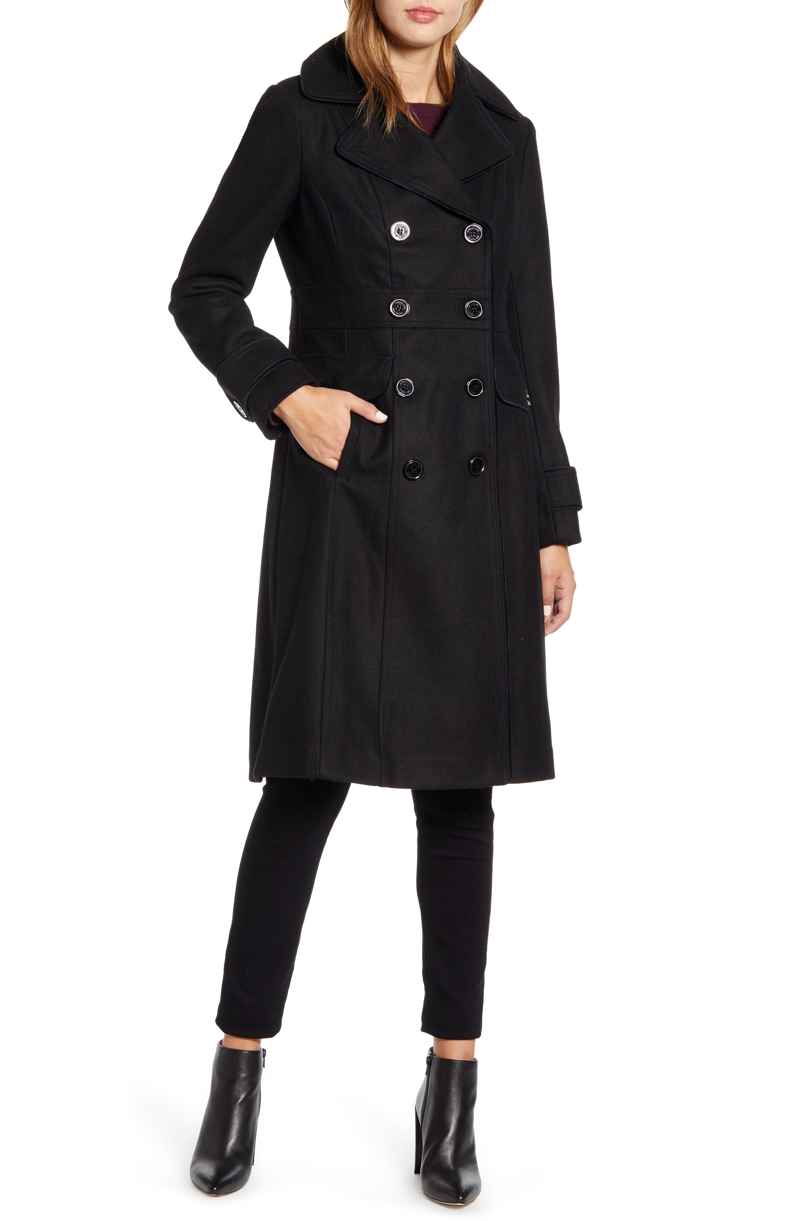 An outline of piping adds to the commanding military look of a double-breasted coat tailored for a sharp fit in warm wool-blend melton. Style Name: Kenneth Cole New York Wool Blend Military Coat. Style Number: 5931705. Available in stores.