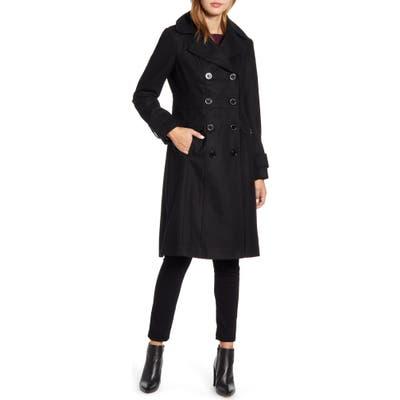 Kenneth Cole New York Wool Blend Military Coat, Black