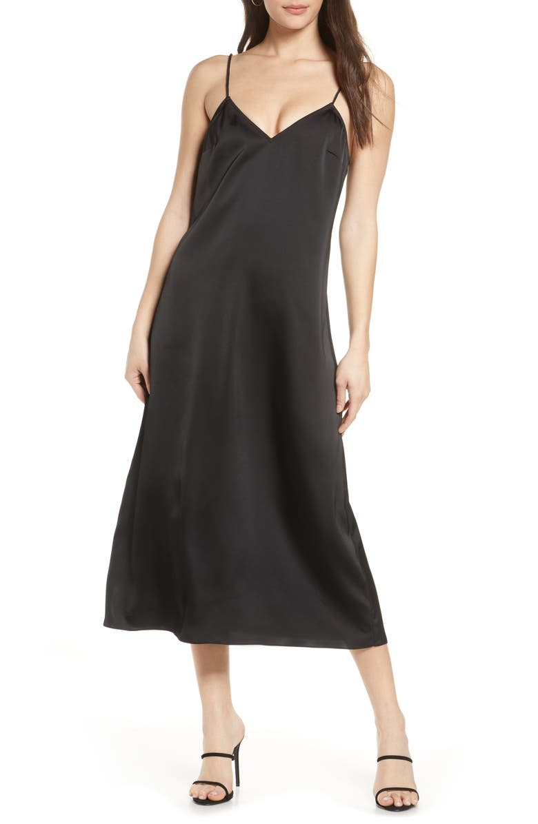 FRENCH CONNECTION Stretch Satin Slipdress, Main, color, 001