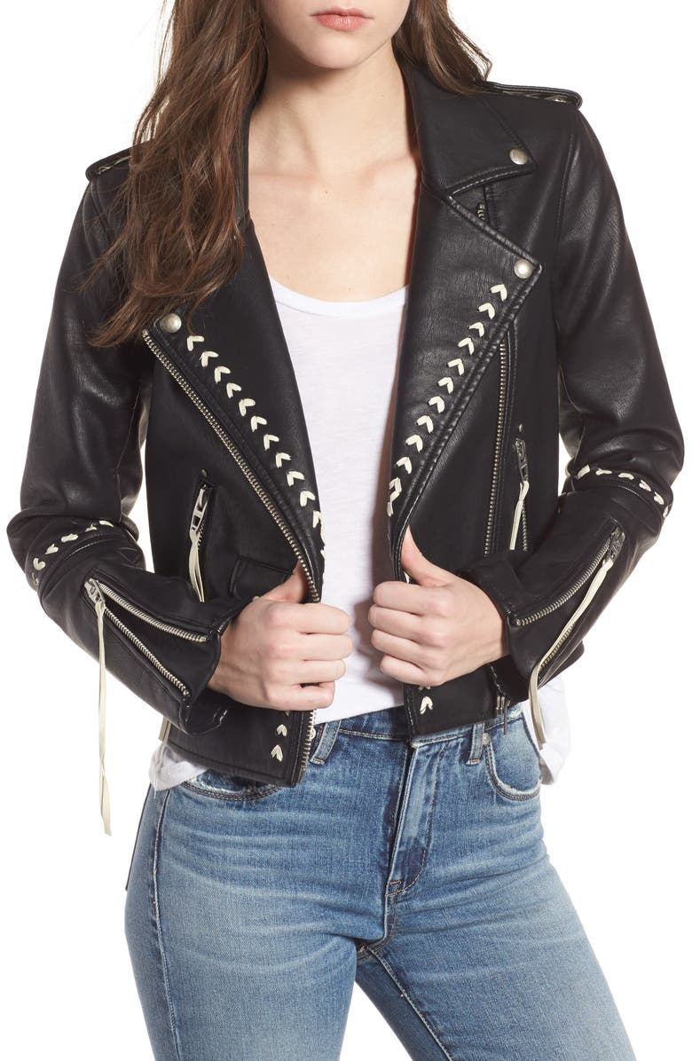 BLANKNYC Whipstitched Faux Leather Moto Jacket, Main, color, 001