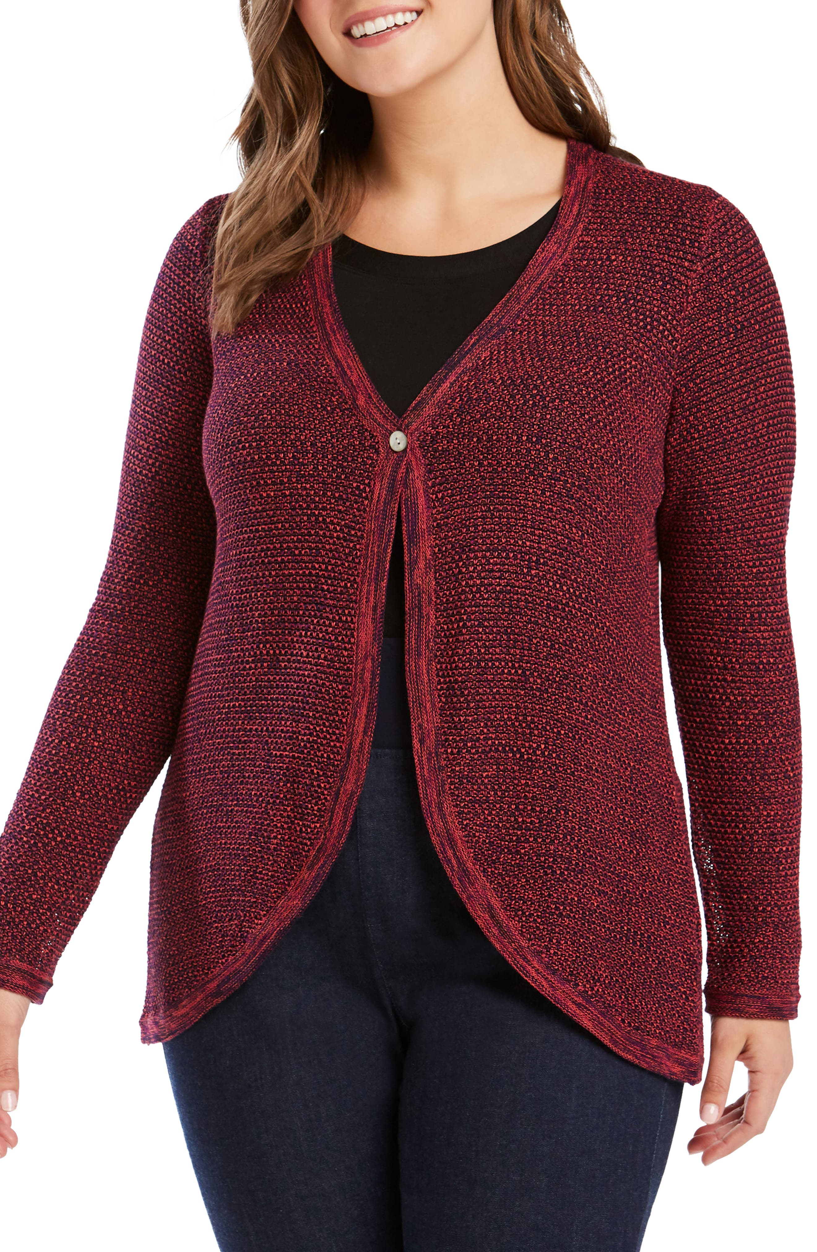 Plus Size Foxcroft Quinn Curved Hem Cotton Blend Cardigan, Red