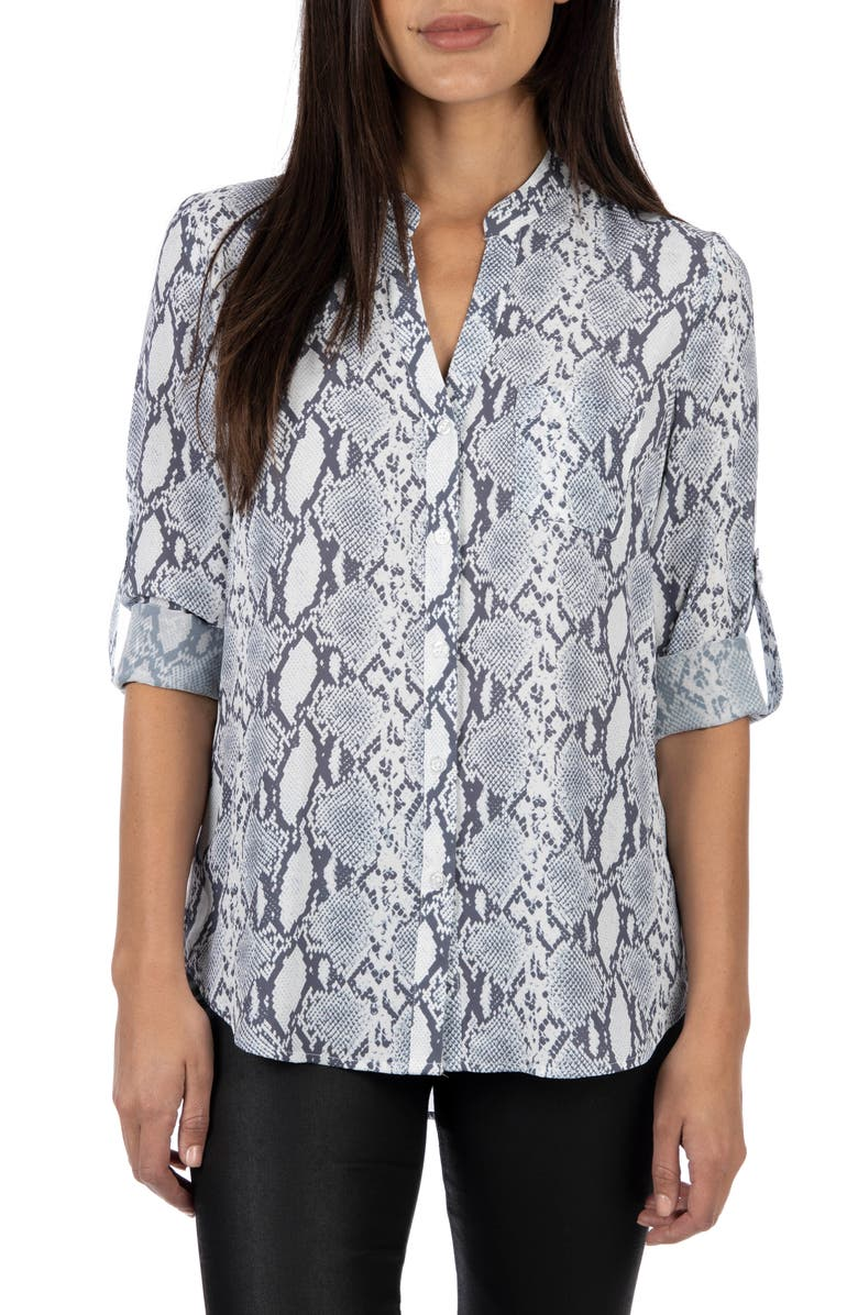 KUT FROM THE KLOTH Harper Snake Print Roll Tab Blouse, Main, color, GREY