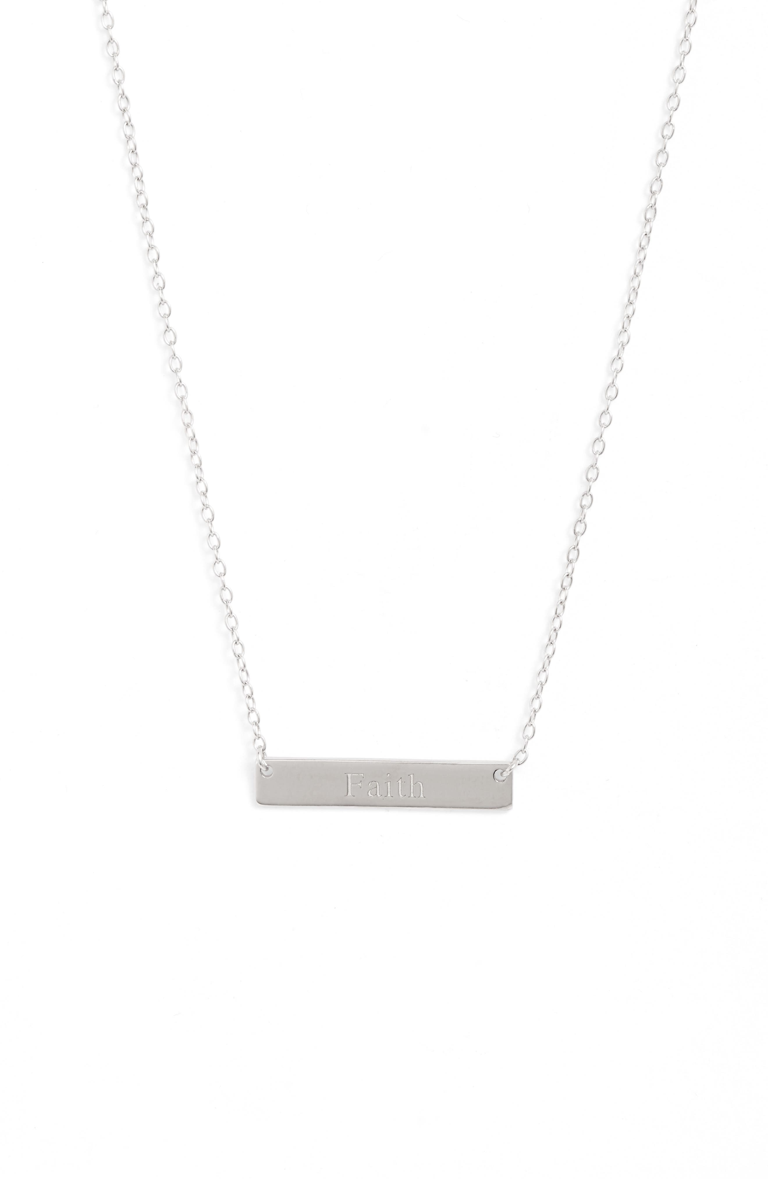 A simple design featuring a gleaming bar pendant embossed with an inspiring message defines this understated necklace. Style Name: Sterling Forever Faith Bar Pendant Necklace. Style Number: 5904774. Available in stores.