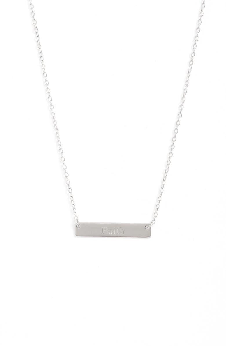 STERLING FOREVER Faith Bar Pendant Necklace, Main, color, SILVER