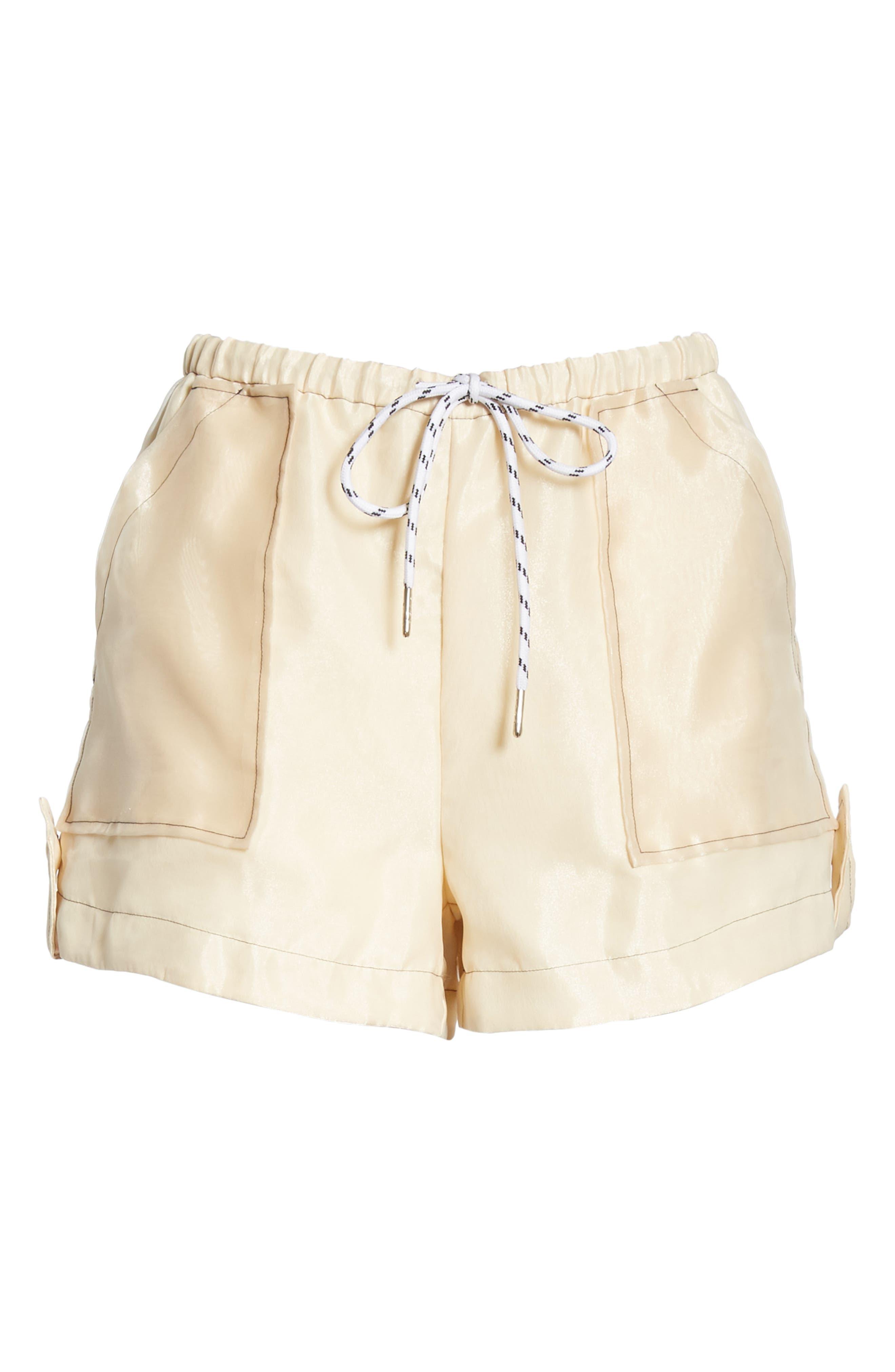 ,                             Solid Organza Shorts,                             Alternate thumbnail 6, color,                             TAPIOCA