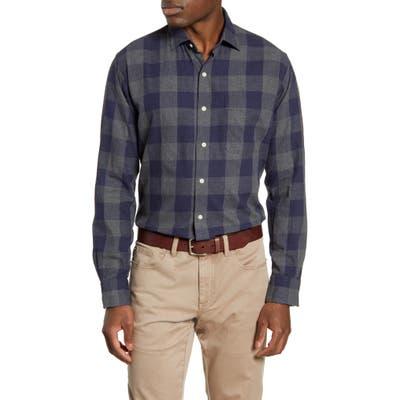 Peter Millar Kenton Regular Fit Buffalo Check Flannel Button-Up Shirt, Blue