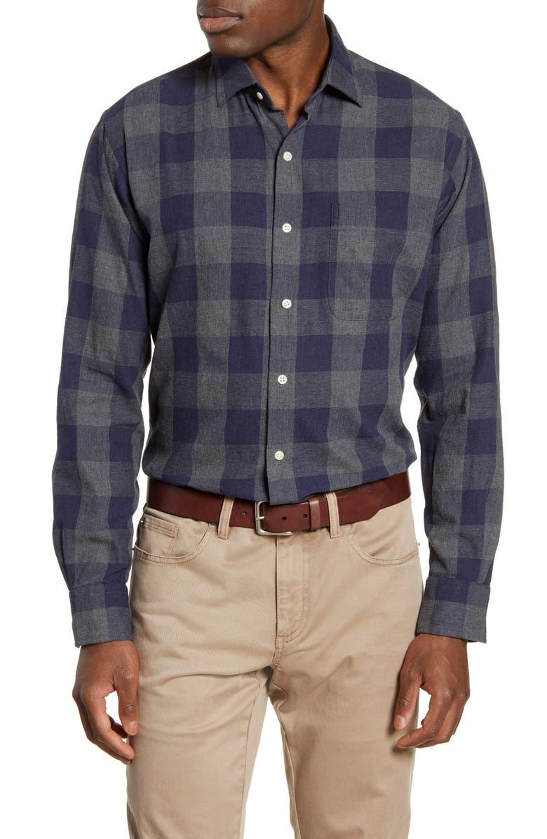 PETER MILLAR Kenton Regular Fit Buffalo Check Flannel Button-Up Shirt, Main, color, NAVY