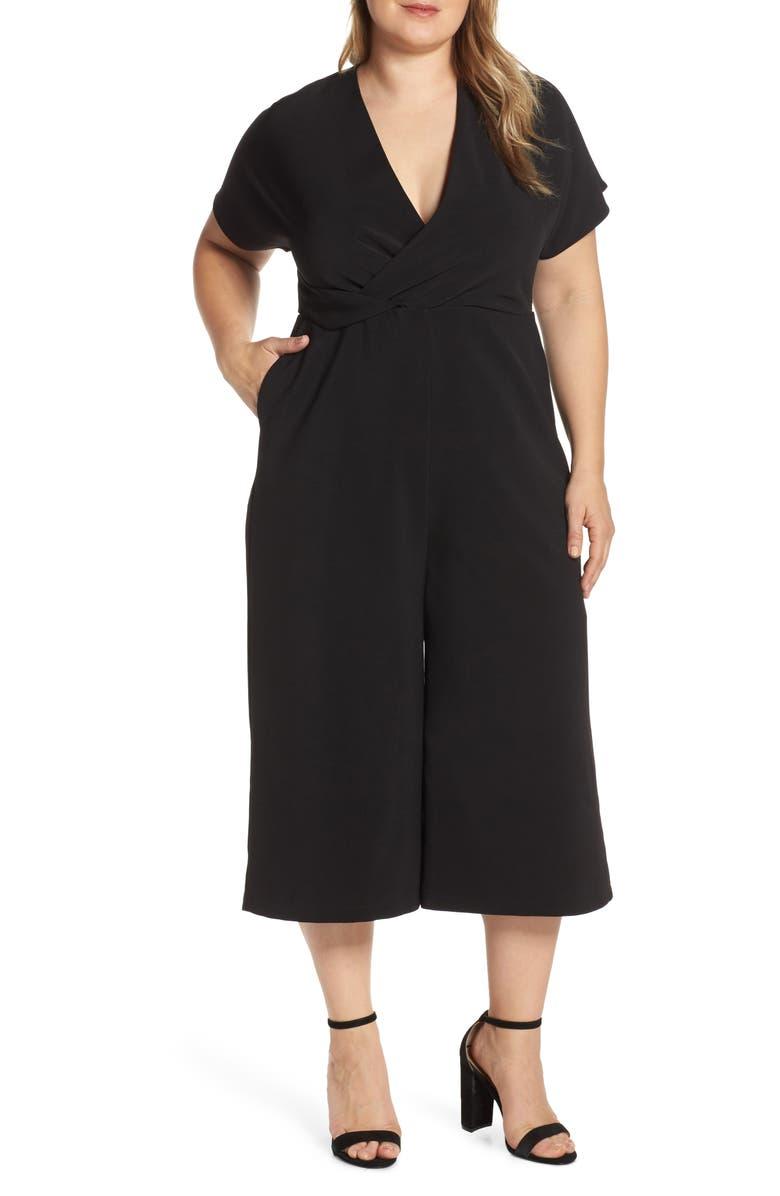 LEITH Surplice Wide Leg Crop Jumpsuit, Main, color, 001
