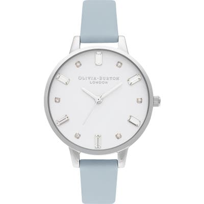 Olivia Burton Bejewelled Faux Leather Strap Watch,