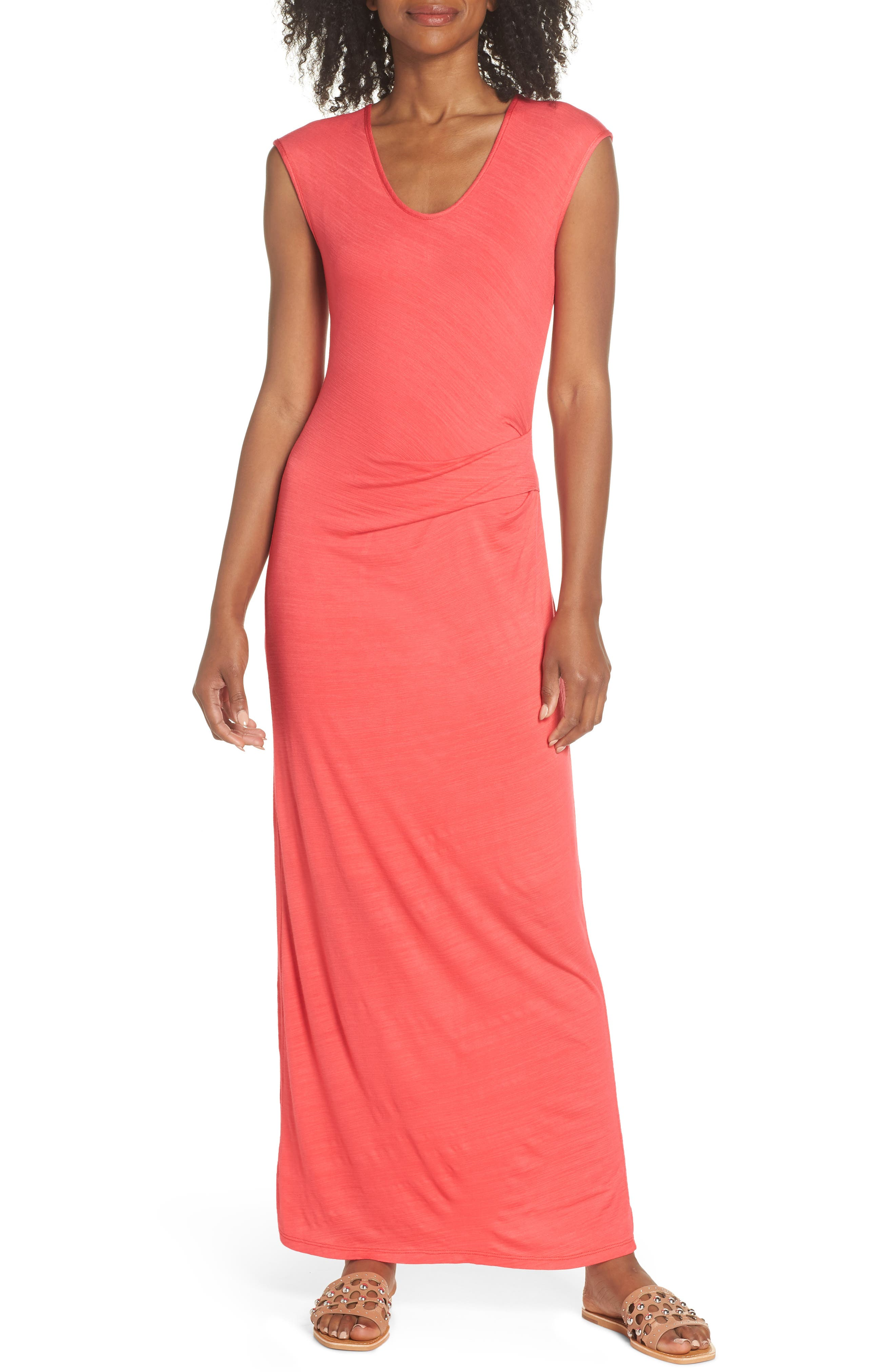 Fraiche By J Ruched Jersey Maxi Dress, Pink
