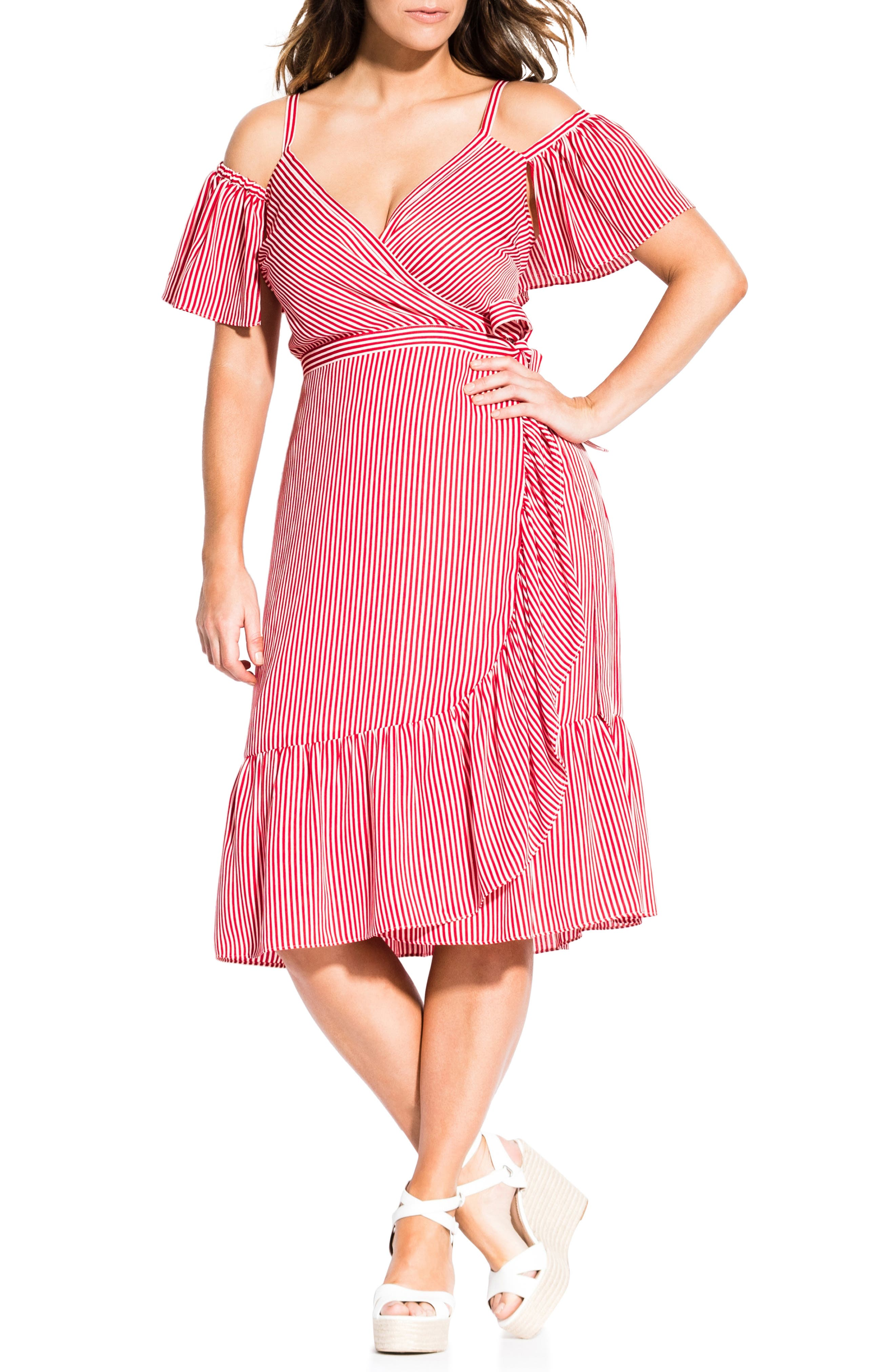 Plus Size City Chic Riviera Stripe Cold Shoulder Wrap Dress, Pink