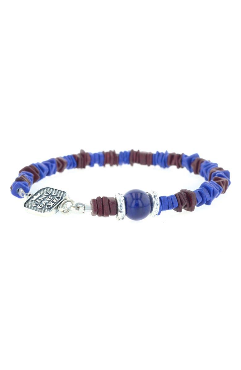KING BABY Ceramic Chip Bead Bracelet, Main, color, BLUE/ BURGUNDY