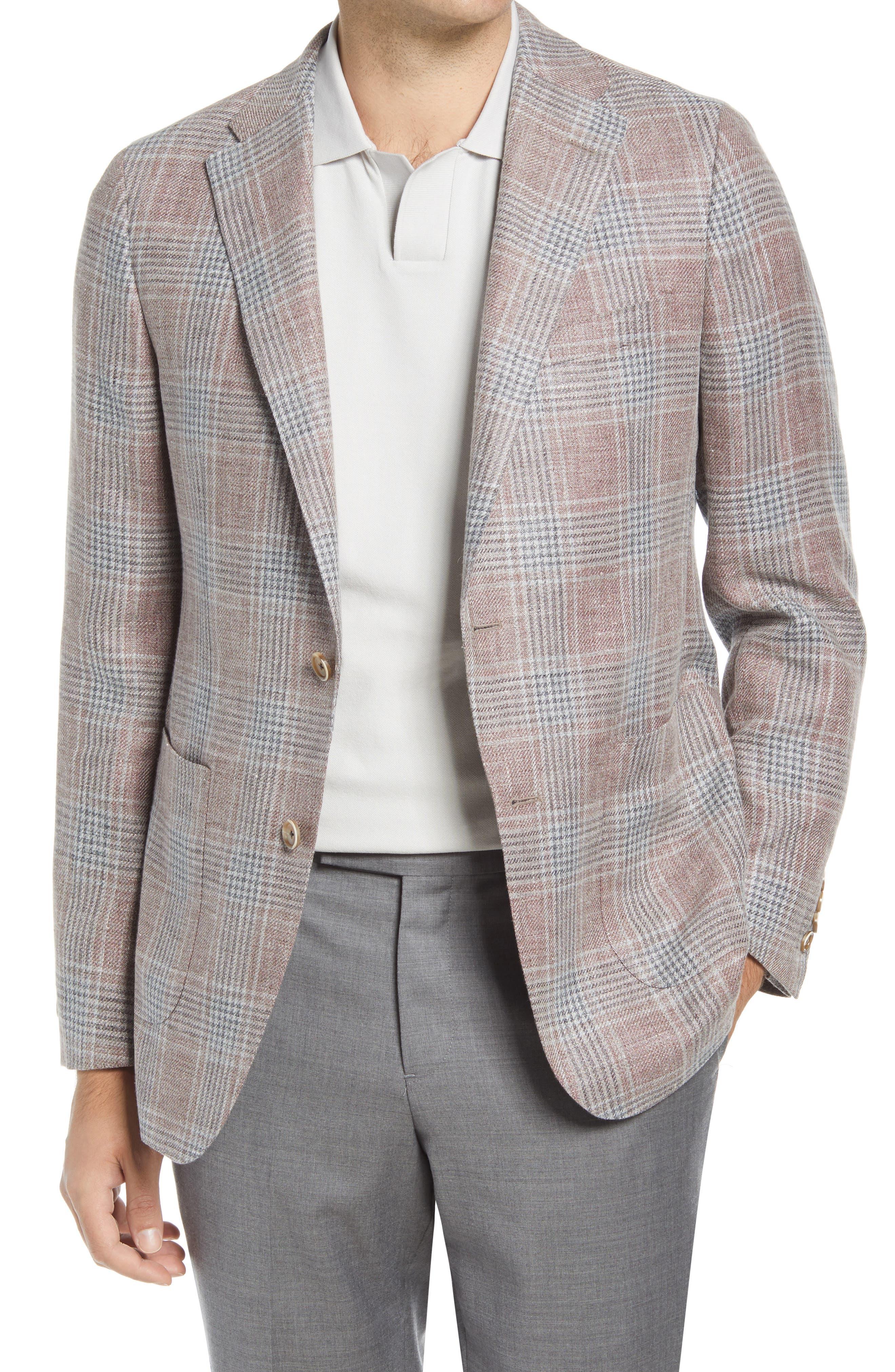 Rosewood Classic Fit Plaid Linen & Wool Sport Coat