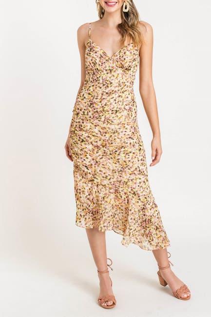 Image of Lush Asymmetrical Hem Printed Midi Dress