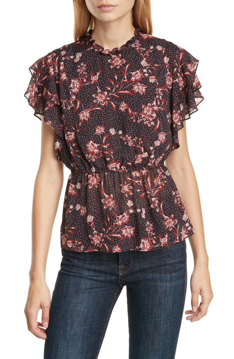 DOLAN Claudia Floral Peplum Blouse, Main, color, CARBON DOT FLORAL