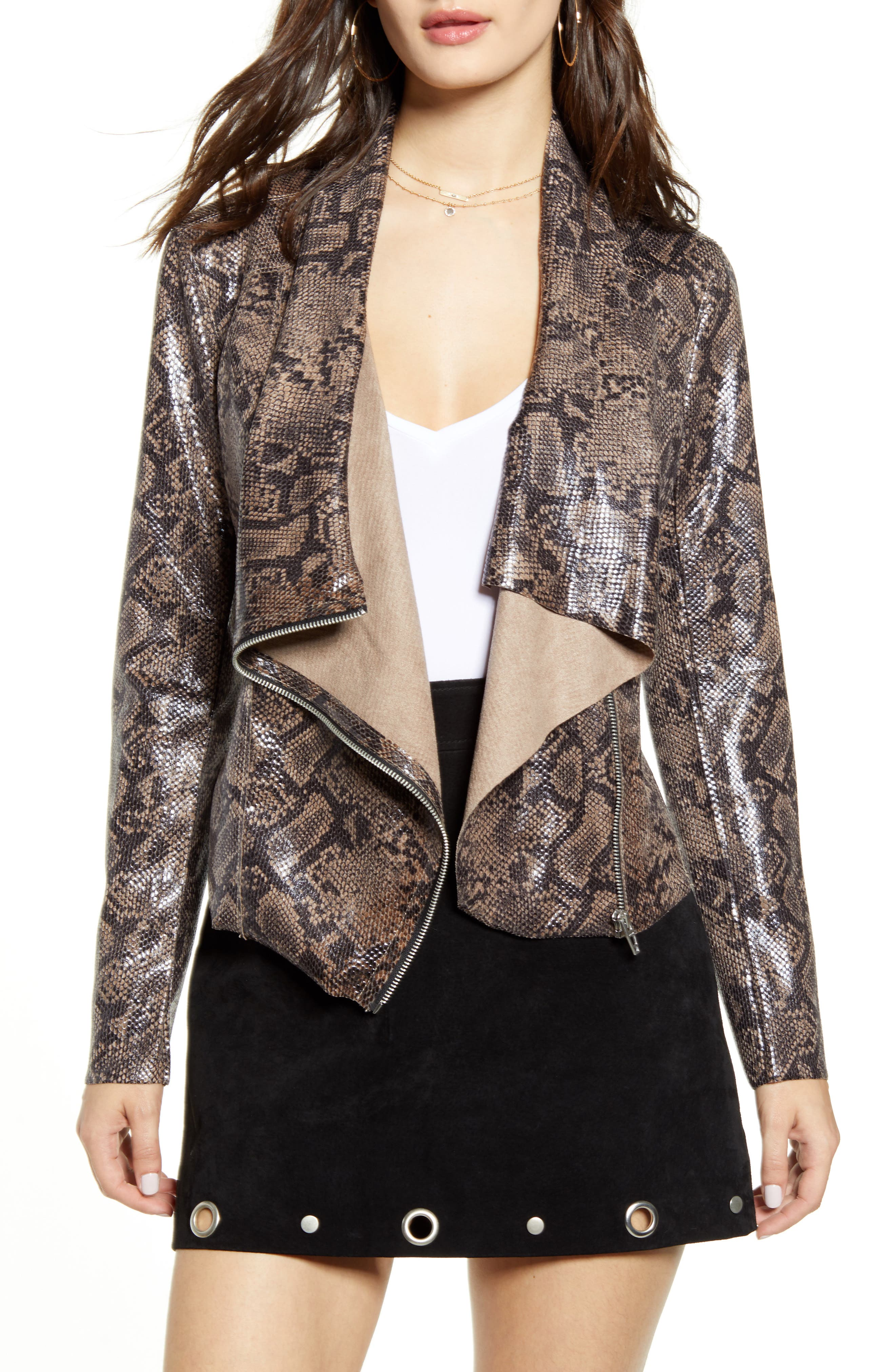 BLANKNYC Faux Suede Drape Front Jacket (Regular & Plus Size)