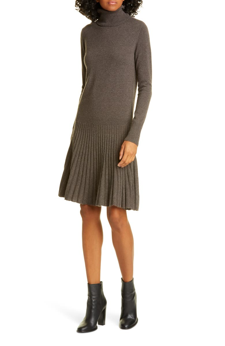 AUTUMN CASHMERE Pleated Drop Waist Long Sleeve Cashmere Sweater Dress, Main, color, 200