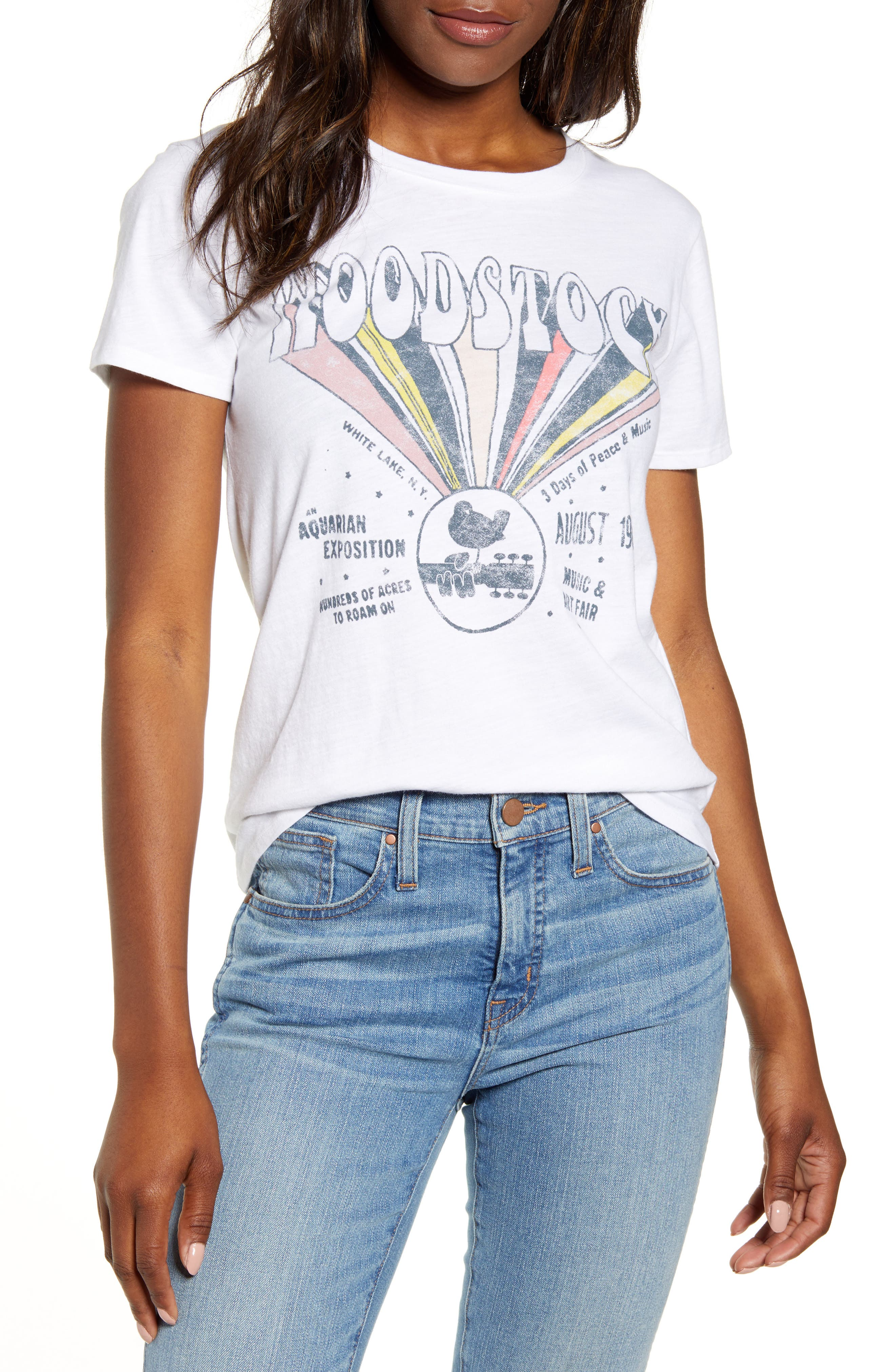 Women's 70s Shirts, Blouses, Hippie Tops Womens Lucky Brand Woodstock Crewneck Tee $35.55 AT vintagedancer.com