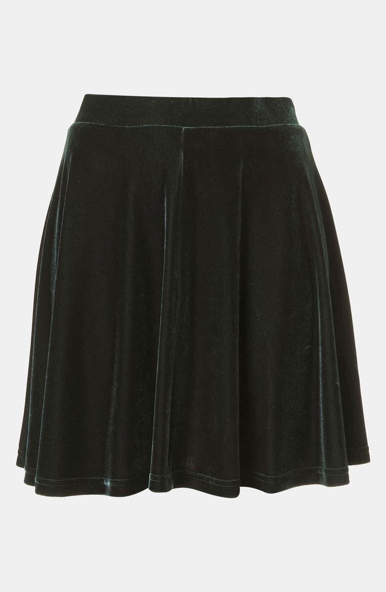 TOPSHOP Velour Skater Skirt, Main, color, 301