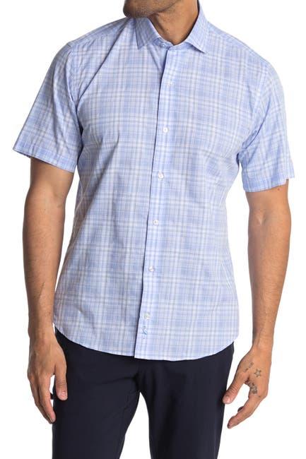 Image of TailorByrd Plaid Print Short Sleeve Shirt