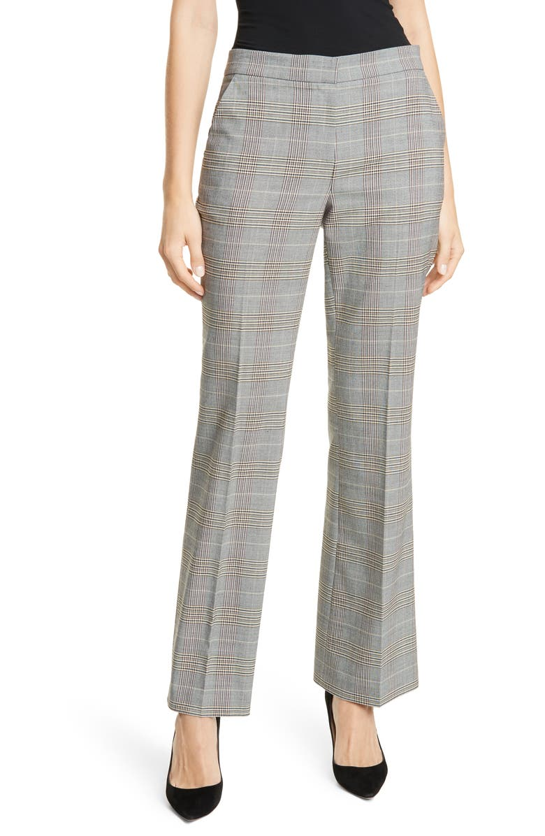 LEWIT Plaid Bootcut Trousers, Main, color, BLACK- TAN COUNTRY CHECK