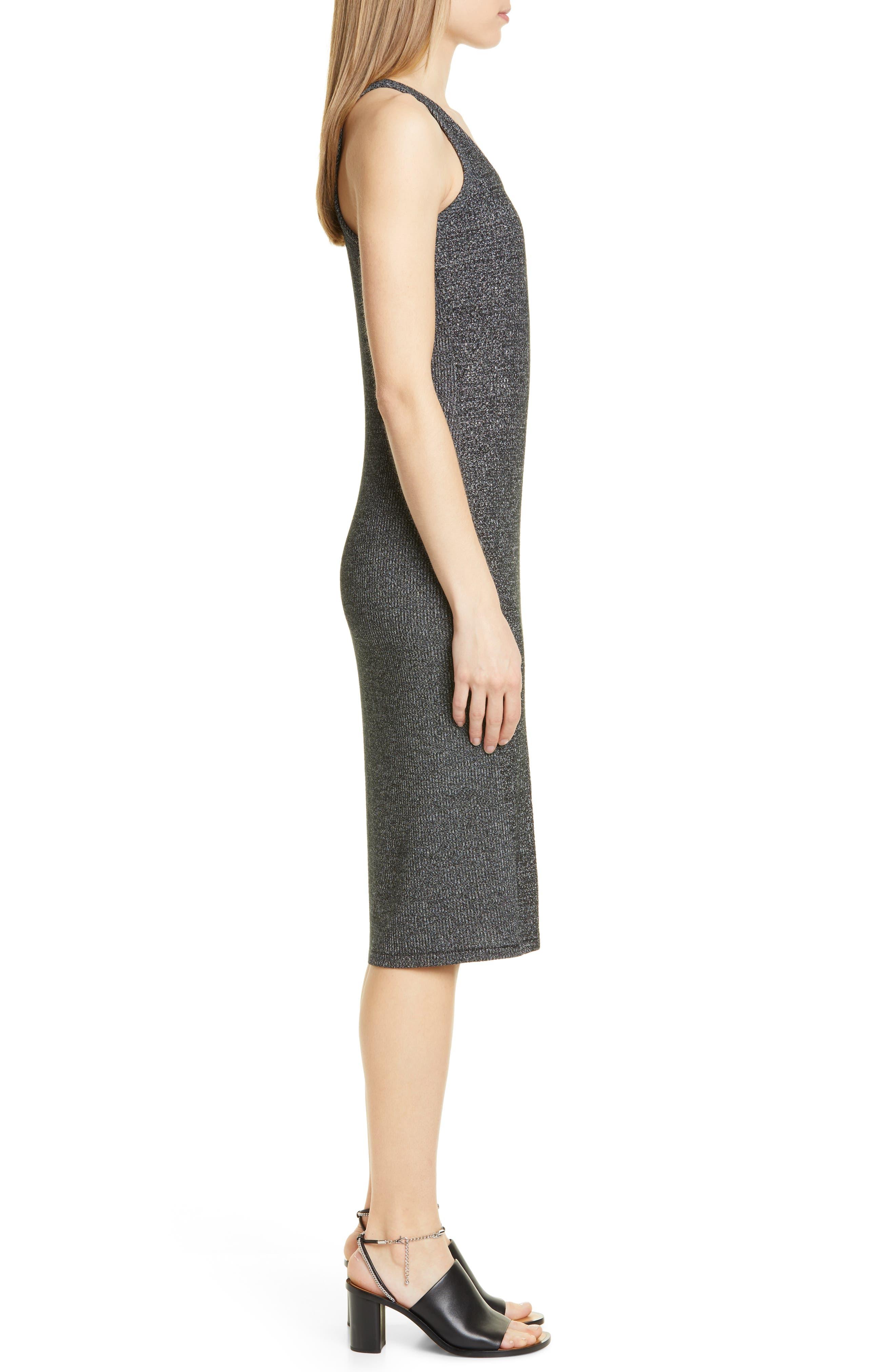 ,                             Clara Torqued Midi Tank Dress,                             Alternate thumbnail 4, color,                             BLACK HEATHER