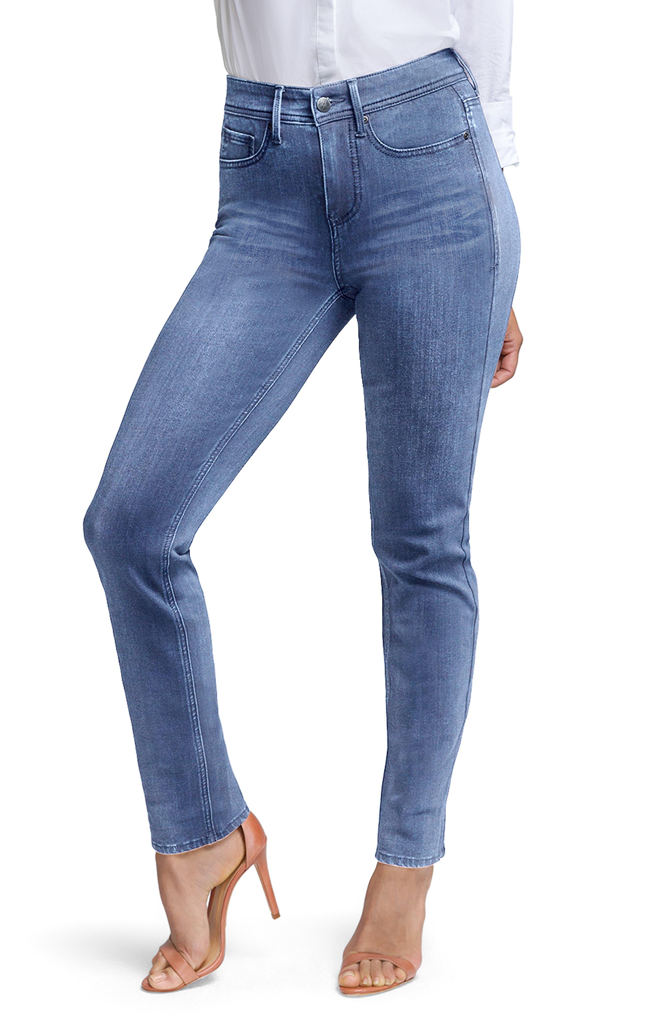 Slim Ankle Straight Leg Jeans, Main, color, AQUINO