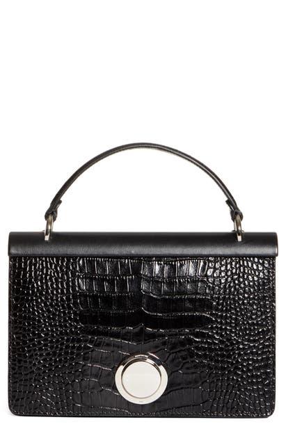 Giambattista Valli Croc Embossed Calfskin Leather Top Handle Bag In Black