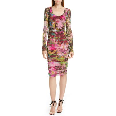 Fuzzi Floral Ruched Long Sleeve Dress, Pink