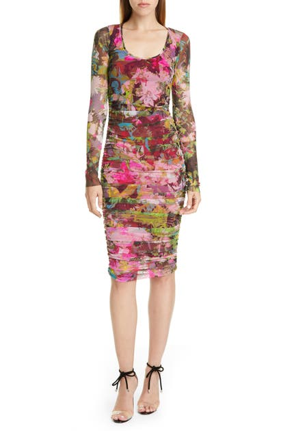 Fuzzi Dresses FLORAL RUCHED LONG SLEEVE DRESS