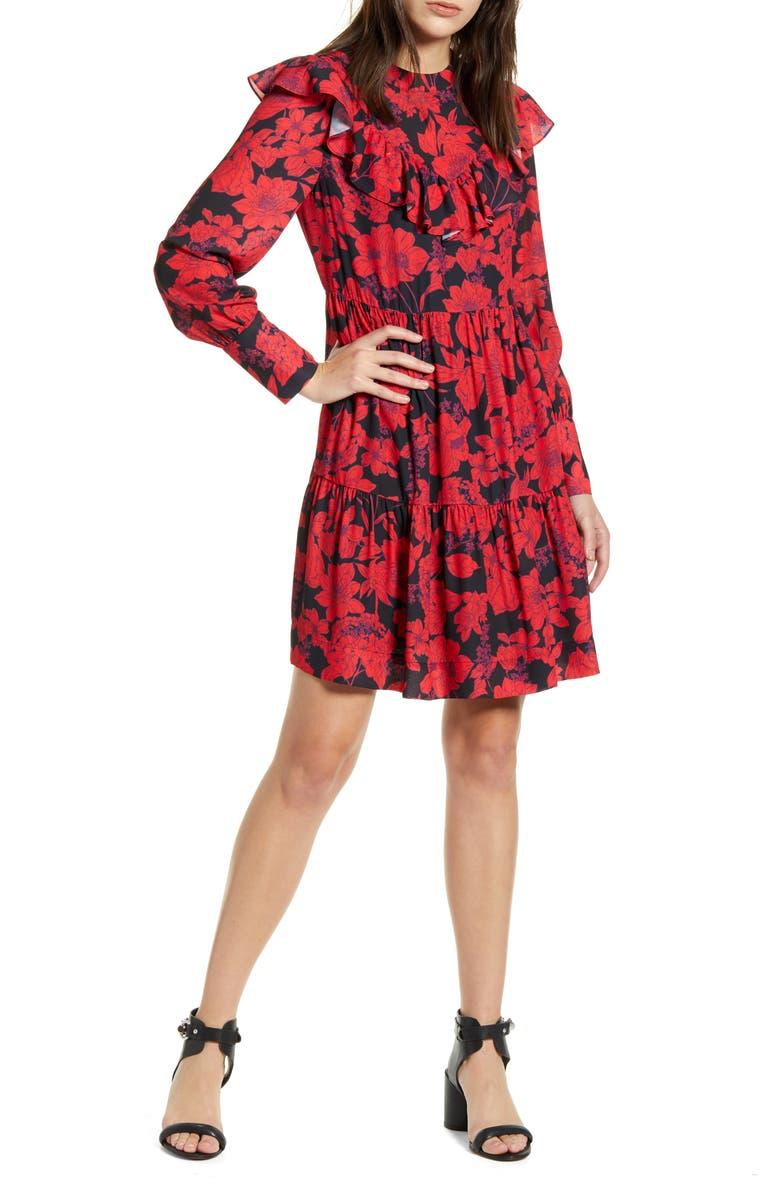 REBECCA MINKOFF Margaret Ruffle Long Sleeve Dress, Main, color, SAPPHIRE