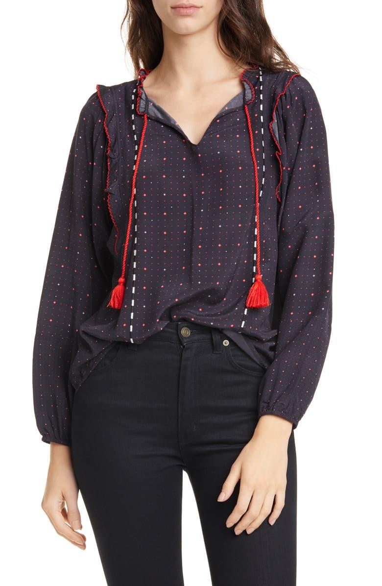 DOLAN Lucille Tassel Tie Blouse, Main, color, BLACK FOULARD MIX