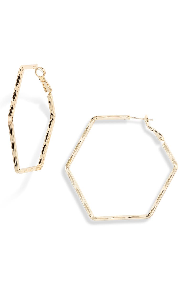 TEN79LA Textured Hexagon Hoop Earrings, Main, color, GOLD