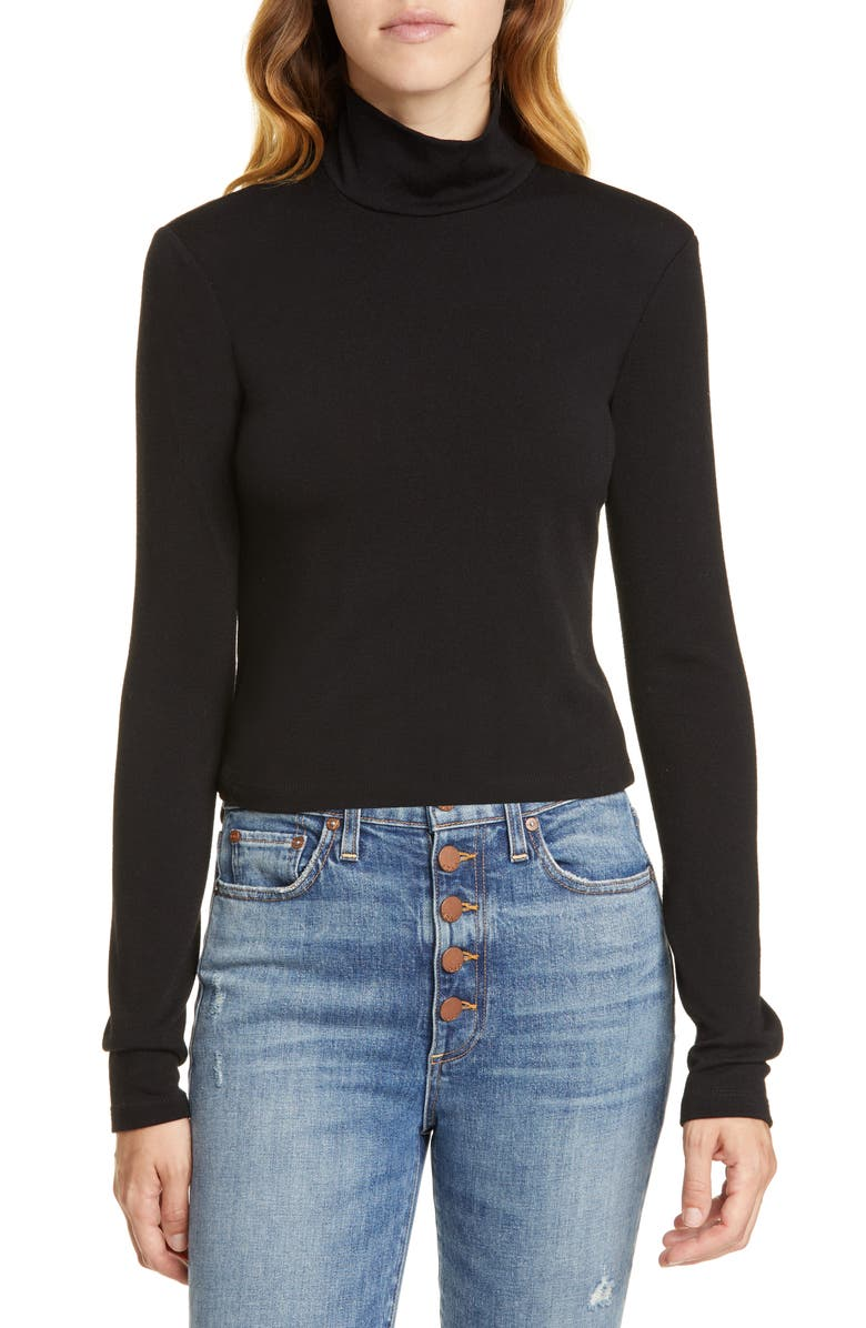ALICE + OLIVIA Garrison Mock Neck Slim Knit Top, Main, color, 001