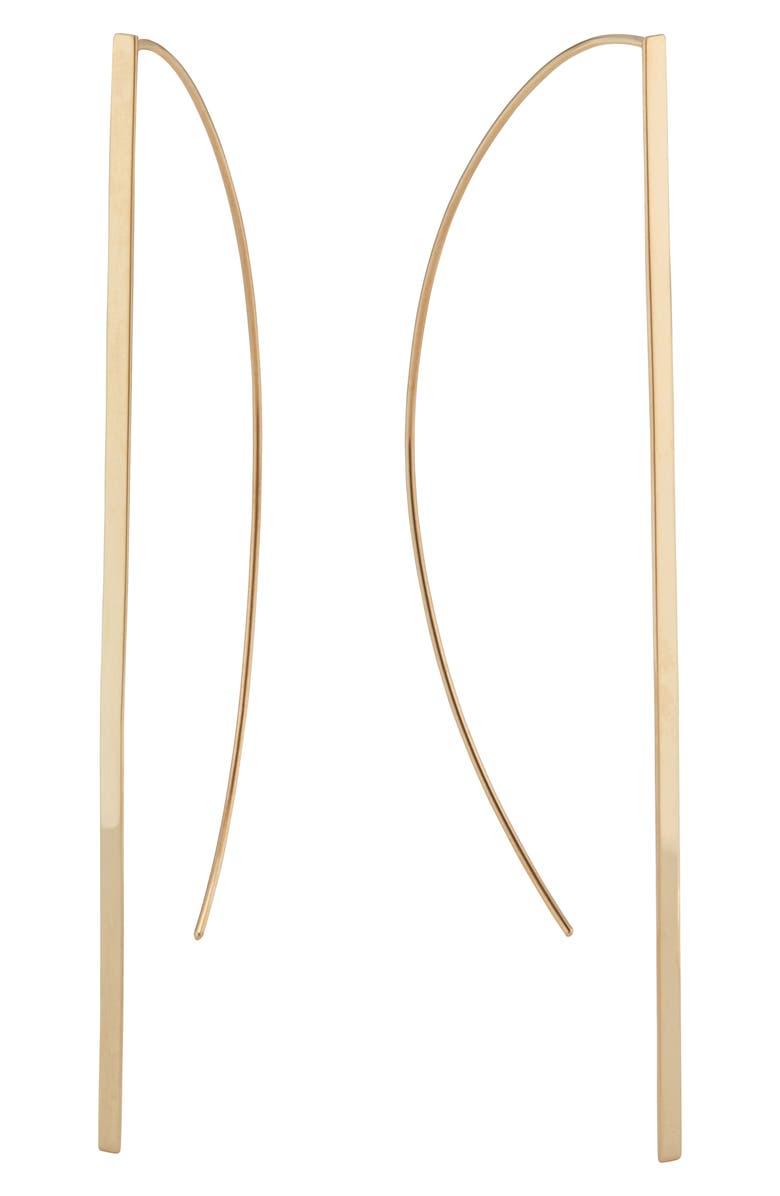 LANA JEWELRY Long P-Hoop Earrings, Main, color, GOLD