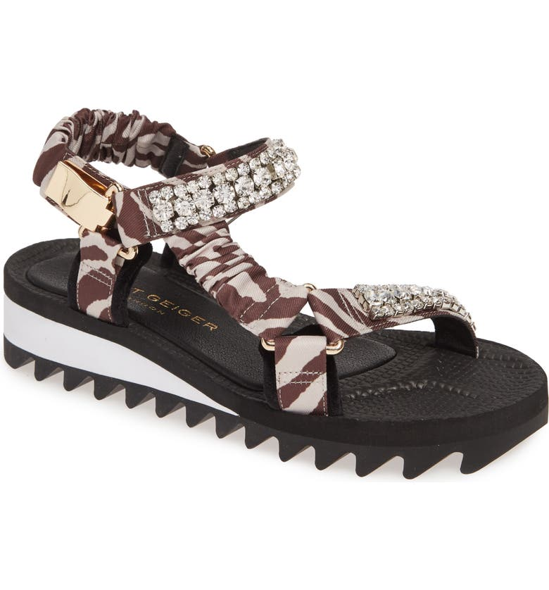 KURT GEIGER LONDON Orion Platform Sandal, Main, color, GREY MIXED FABRIC