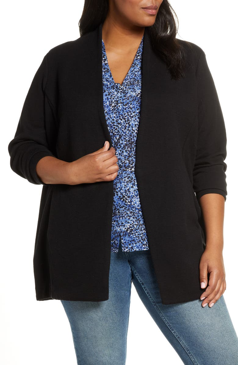 NIC+ZOE Grace Open Front Jacket, Main, color, BLACK ONYX