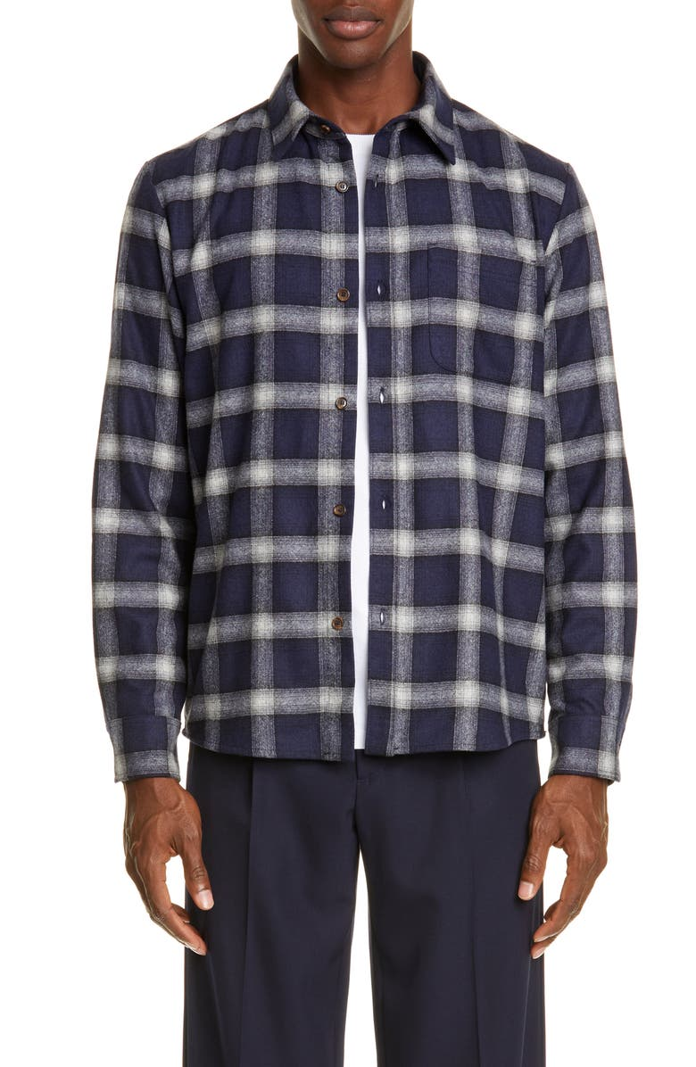 A.P.C. Trek Check Wool Blend Shirt, Main, color, IAK DARK NAVY