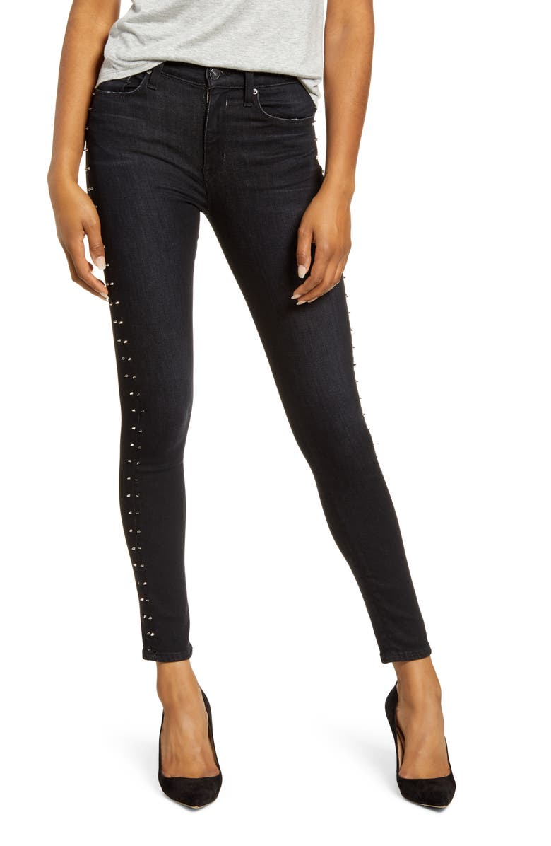 HUDSON JEANS Barbara High Waist Ankle Super Skinny Jeans, Main, color, STUDDED INCLINE
