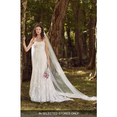 Marchesa Notte Lea Strapless Lace Wedding Dress, Size IN STORE ONLY - Ivory