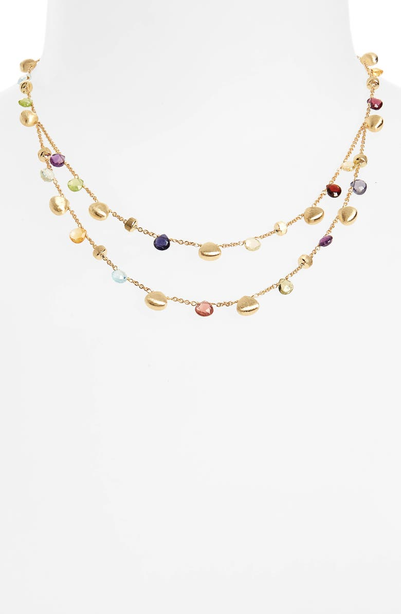 MARCO BICEGO Paradise Semiprecious Stone Double Strand Necklace, Main, color, YELLOW GOLD