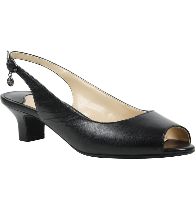 J. RENEÉ Aldene Slingback Sandal, Main, color, BLACK LEATHER