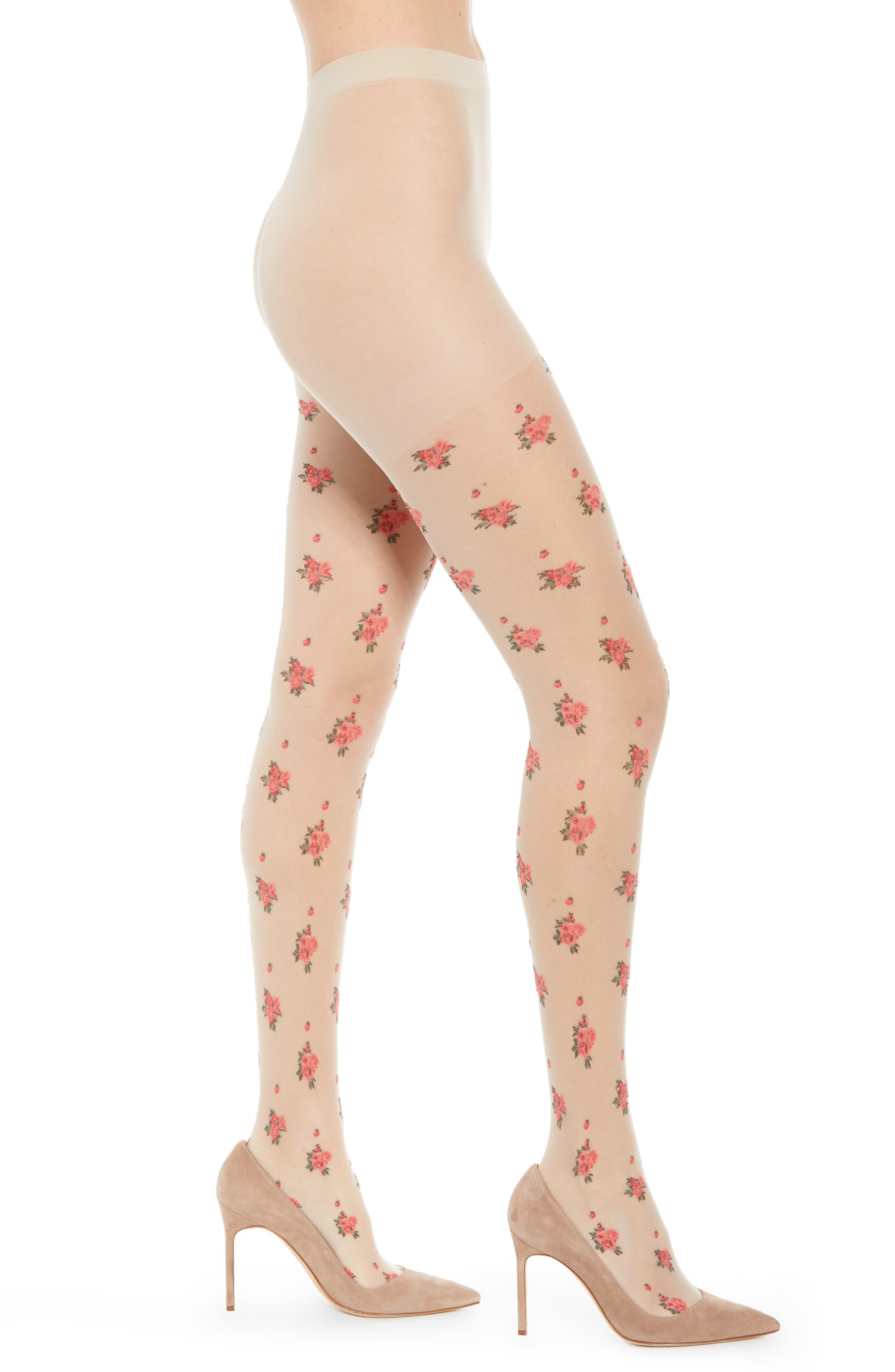 Victorian Stockings, Socks, Hosiery, Tights Womens Nordstrom Sheer Floral Intarsia Tights Size MediumLarge - None $11.40 AT vintagedancer.com