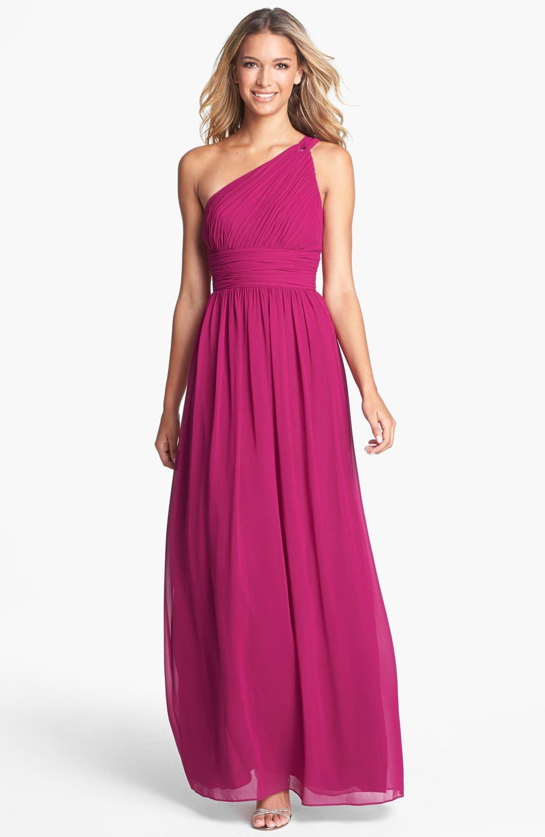 ,                             'Rachel' Ruched One-Shoulder Chiffon Gown,                             Main thumbnail 98, color,                             649