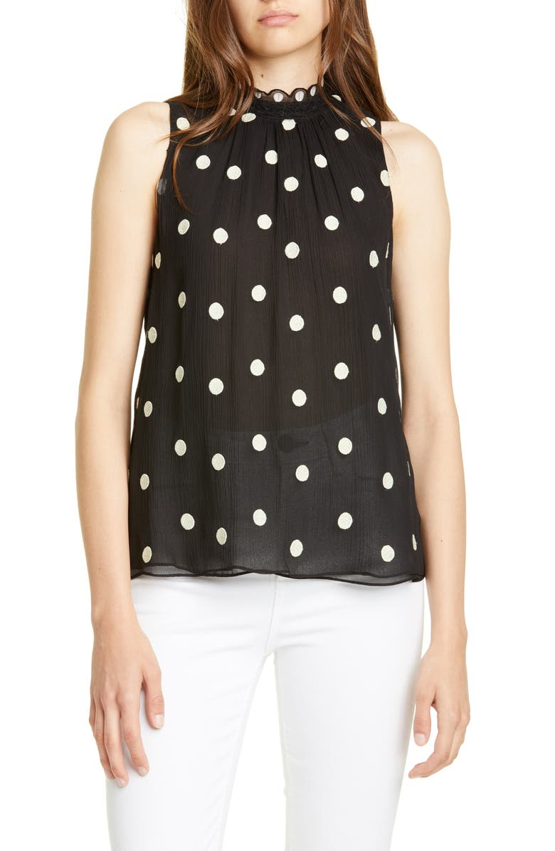 REBECCA TAYLOR Dot Embroidered Sleeveless Top, Main, color, BLACK