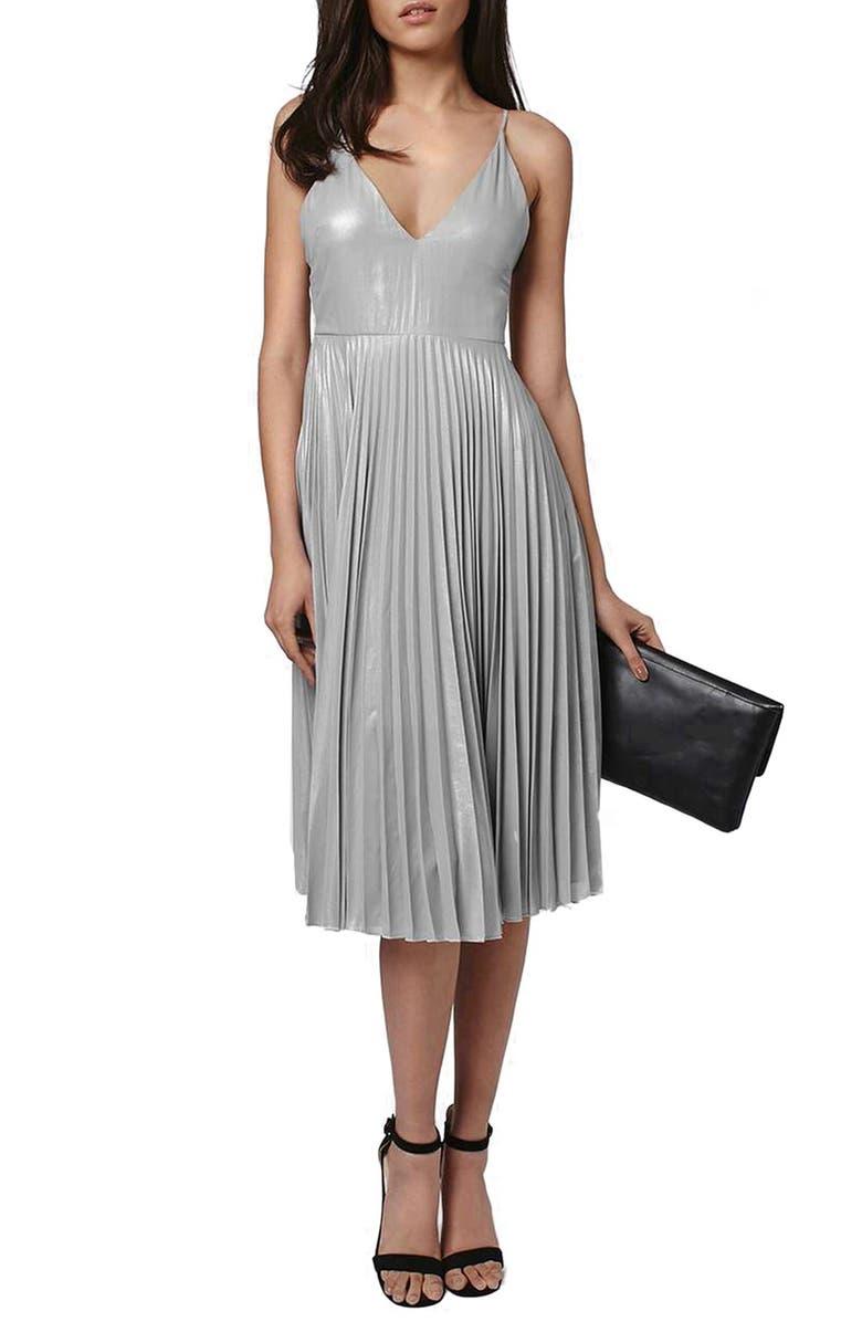 TOPSHOP Metallic Plunge Pleat Midi Dress, Main, color, 040